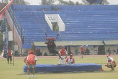 INDONESIAN AERO SPORTS. The World Military Parachuting Championships that was held in Solo, Java, Indonesia. Indonesian aero sports are housed within the Royalty Free Stock Photo