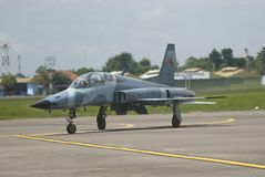 INDONESIAN AIR FORCE TO ADD AIR TRANSPORT. Inaugural flight of Indonesian Air Force 15th Squadron's T50i Golden Eagle pilots at Adi Soemarmo Airbase, in Boyolali Royalty Free Stock Photography
