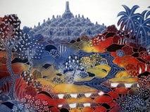 Indonesian art. Batik with Barubudur temple Stock Photography