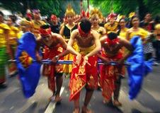 Indonesian art-festival radial blur. Procession of indonesian performers on the indonesian art-festival Stock Image