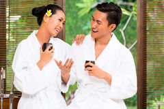 Indonesian Asian couple drinking tea Stock Photos