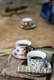 Indonesian black coffee in cups Royalty Free Stock Image