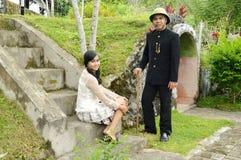 Indonesian bridal couples prewedding photoshoot. Indonesian bridal couples were dressed in vintage costume Stock Photo
