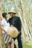 Indonesian bridal couples prewedding photoshoot. Indonesian bridal couples were dressed in vintage costume Stock Image