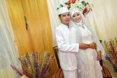 Indonesian bridal couples. Were dressed in kebaya costume Royalty Free Stock Image
