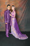 Indonesian bridal couples. Were dressed in kebaya costume Stock Photos