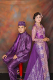 Indonesian bridal couples. Were dressed in kebaya costume Stock Photography