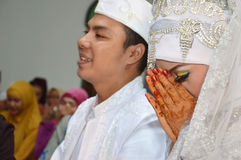 Indonesian bridal couples Royalty Free Stock Images