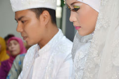 Indonesian bridal couples. Were undergoing the marriage ceremony event Royalty Free Stock Photography
