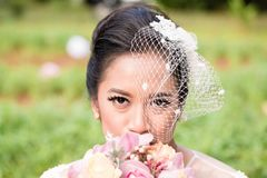 Indonesian bride on her wedding royalty free stock photo