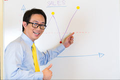 Indonesian Businessman in agency plotting graph Royalty Free Stock Image