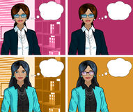 Indonesian Businesswoman pop art comic. Beautiful businesswoman of Indonesian ethnicity in office interior pop art comic scene with and without detailed Royalty Free Stock Photography
