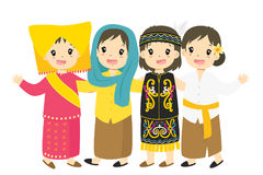 Indonesian Girls Wearing Traditional Dress Cartoon Vector Stock Photos
