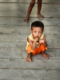 Indonesian children on the pier in Tobil village Togean Islands Royalty Free Stock Photography