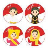 Indonesian Children in Traditional Dress Cartoon Vector. Indonesian girls wearing traditional dress waving their hand, with Indonesian flag circle background stock illustration