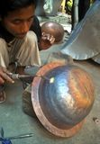 INDONESIAN COPPERSMITH CRAFT Royalty Free Stock Photography