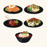 Indonesian Cuisine. Masakan Indonesia.Indonesian Foods VECTOR. Indonesian Cuisine in bahasa `Masakan Indonesia`. Famous food for indonesian restaurant vector illustration