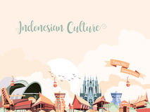 Indonesian culture. Indonesian miniature culture park with traditional buildings Stock Images