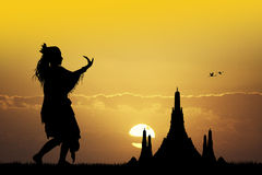 Indonesian dance at sunset Royalty Free Stock Photography