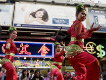 Indonesian dancers. Are performing their traditional dance in the street of Hong Kong Royalty Free Stock Images