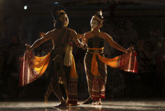 INDONESIAN DANCING STYLE. A dance performance in Solo, Java, Indonesia. Prior to their contact with the outer world the people of the Indonesian archipelago had royalty free stock image