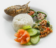 Indonesian dish closeup. Colorful indonesian dish closeup in light back royalty free stock photography