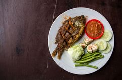 Indonesian dish ikan goreng fried fish with copy space left.  Royalty Free Stock Images