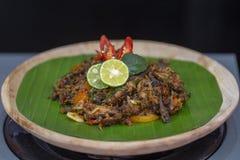 Indonesian dish from Jakarta - Cakalang Pedas Manis. Close up stock photography