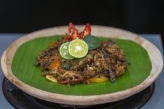 Indonesian dish from Jakarta - Cakalang Pedas Manis. Close up stock photo