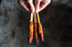 Indonesian dish Lombok: Sate Pusut marinated meat mix on stick hold in hand over ground Stock Photography