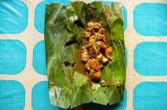 Indonesian dish PEPES IKAN on banana leaf on plate top view centered.  Royalty Free Stock Images