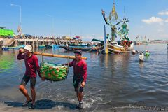 Indonesian dockers unload traditional fishing boat. Jembrana, Bali Island, Indonesia - September 20, 2015: A way of life, earning money in Bali. In Perancak Stock Image