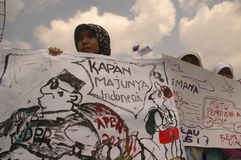 INDONESIAN EDUCATION SYSTEM PROTEST Stock Photos