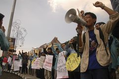 INDONESIAN EDUCATION SYSTEM PROTEST Stock Photo