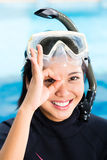 Young indonesian diver says ok Royalty Free Stock Images