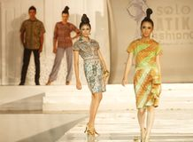 Indonesian Female Model at Fashion Show Wearing Lattest Collection Stock Image
