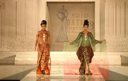 Indonesian Female Model at Fashion Show Wearing Lattest Collection Stock Photography