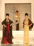 Indonesian Female Model at Fashion Show Wearing Lattest Collection Stock Photo