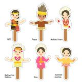 Indonesian Female Puppet Characters Cartoon Vector. Indonesian female puppet character set, in traditional clothes cartoon vector. printable puppet character Stock Image