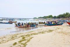Indonesian Fishermen, Jimbaran Beach, Bali Stock Photo