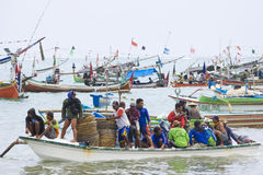 Indonesian Fishermen, Jimbaran Beach, Bali Stock Photography