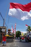 Indonesian Flag flying high Stock Photos