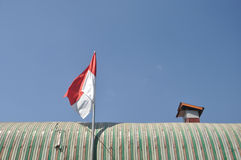 Indonesian Flag on The Roof Stock Photography