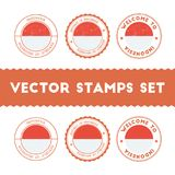 Indonesian flag rubber stamps set. Royalty Free Stock Images