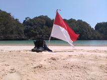 Indonesian Flag. On the sempu island Royalty Free Stock Image