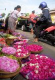 INDONESIAN FLOWER VENDOR Stock Photo