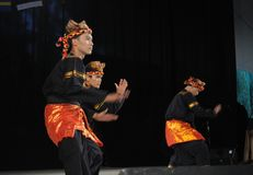Indonesian folklore. Dancers of team TETA from Indonesia - performs folk dance during the International Folklore Festival WARSFOLK on AUGUST 19, 2010 in Warsaw stock image
