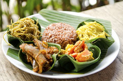 Indonesian food in bali. Several curries and rice Stock Photography