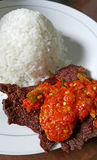 INDONESIAN FOOD DENDENG BALADO Royalty Free Stock Image