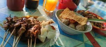 Indonesian food, namely satay, meatballs and dumplings